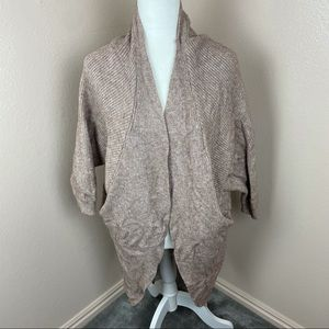 DO EVERYTHING IN LOVE TAUPE OPEN SWEATER CARDIGAN